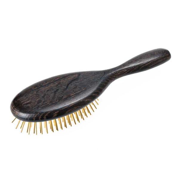 Edle Gold Haarbürste mit Stahlstiften