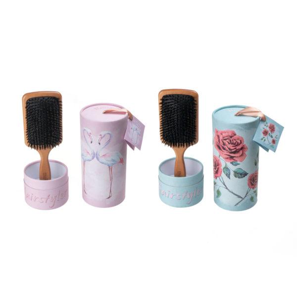 Pneumatik-Haarbürste Paddle mit Geschenkbox Flamingo & Rose