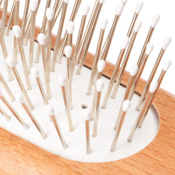 Pneumatik- Haarbürste länglich aus Buchenholz und Stahlstifte mit Noppen