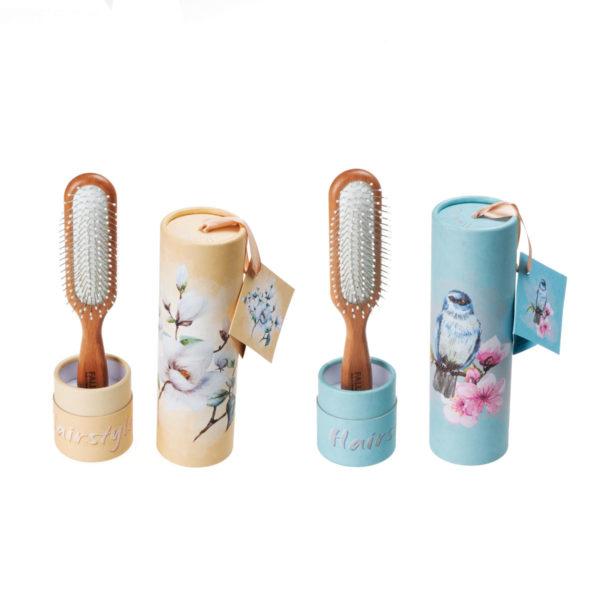 Pneumatik-Haarbürste länglich mit Geschenkbox Magnolien & Blaumeise