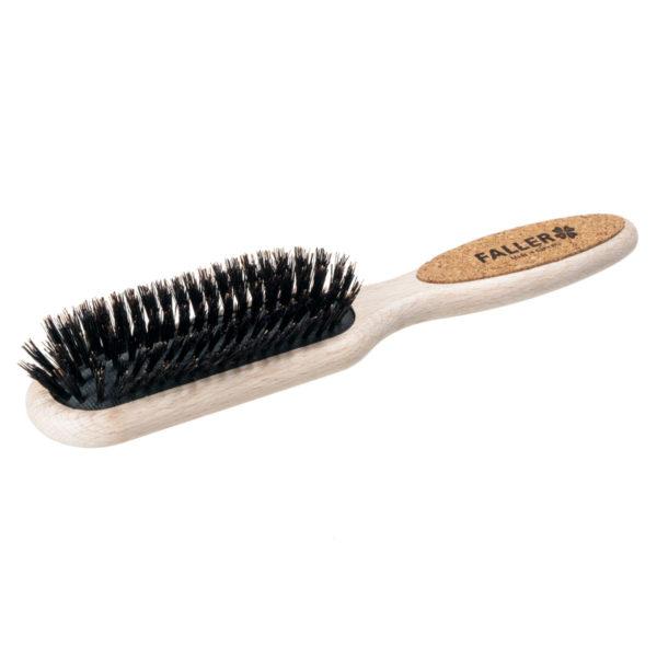 Pneumatik-Haarbürste länglich mit Wildschwinborsten und Faller Logo