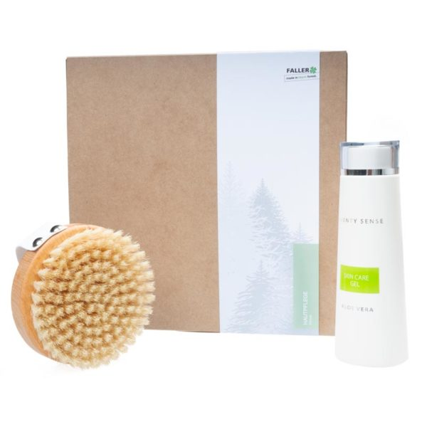 Pflegeset mit Massagebürste und Hautgel