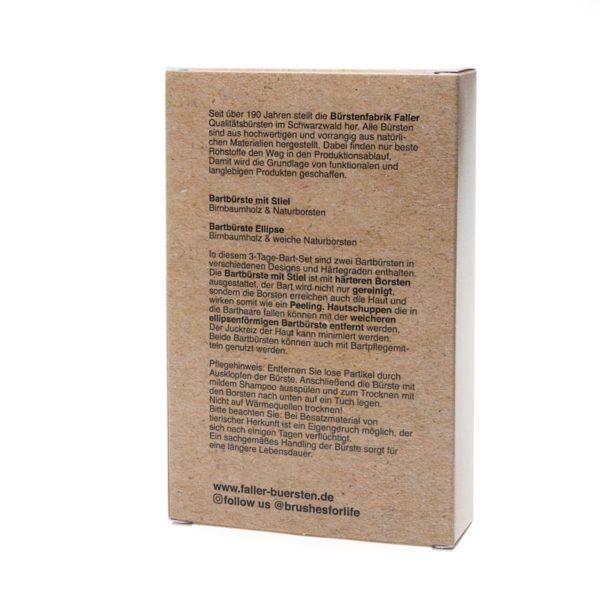 3-Tage-Bart-Set Bürsten aus Birnbaumholz und Wildschweinborsten